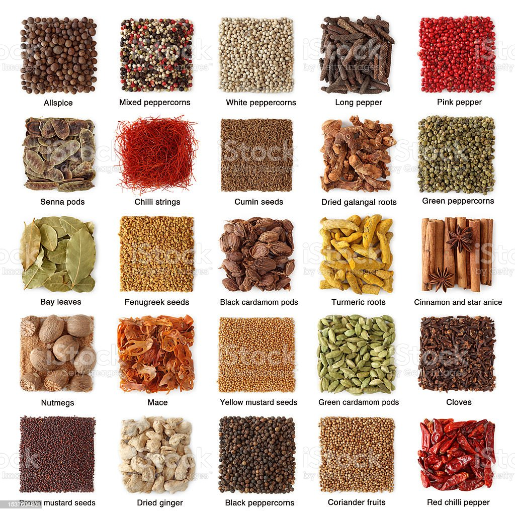 Indian spices collection with titles stock photo