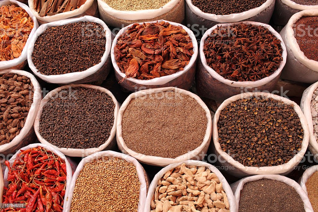 Indian Spices Variety  of Indian spices at  outdoor market. Asia Stock Photo