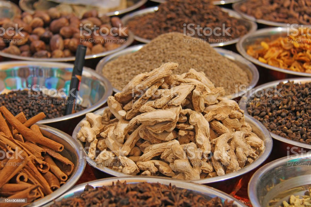Indian spices. Spices India are sold on the market. Badyan, cinnamon, ginger stock photo