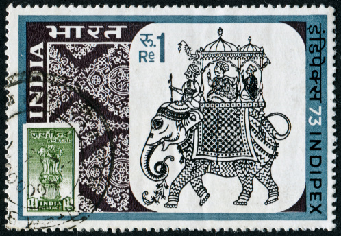 Cancelled Stamp From India Featuring Mughal Miniature Art