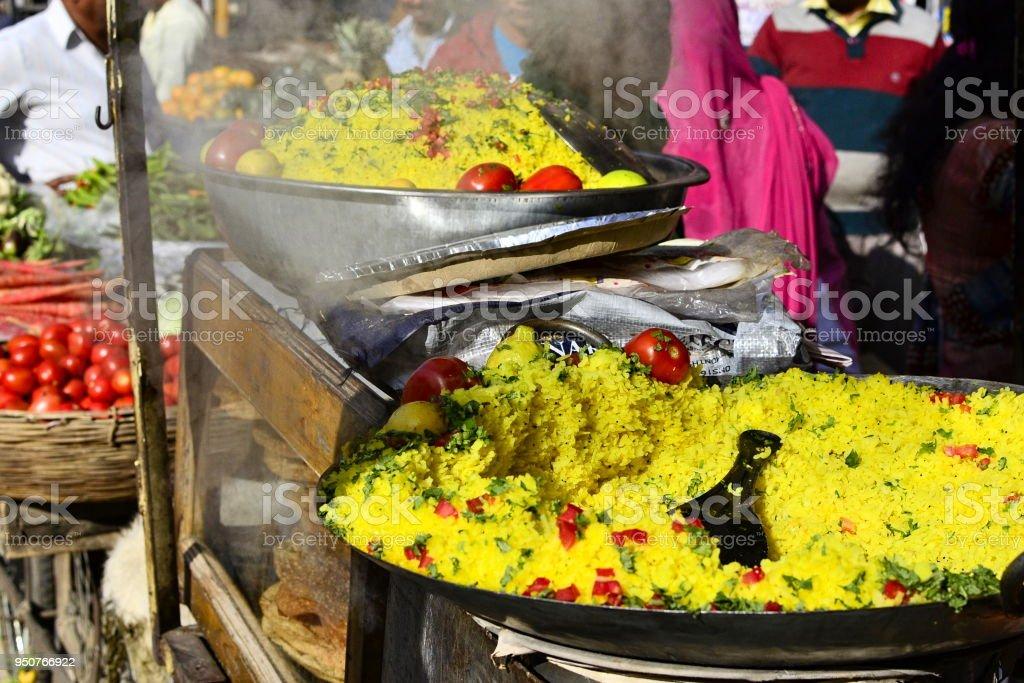 Indian street food Poha stock photo
