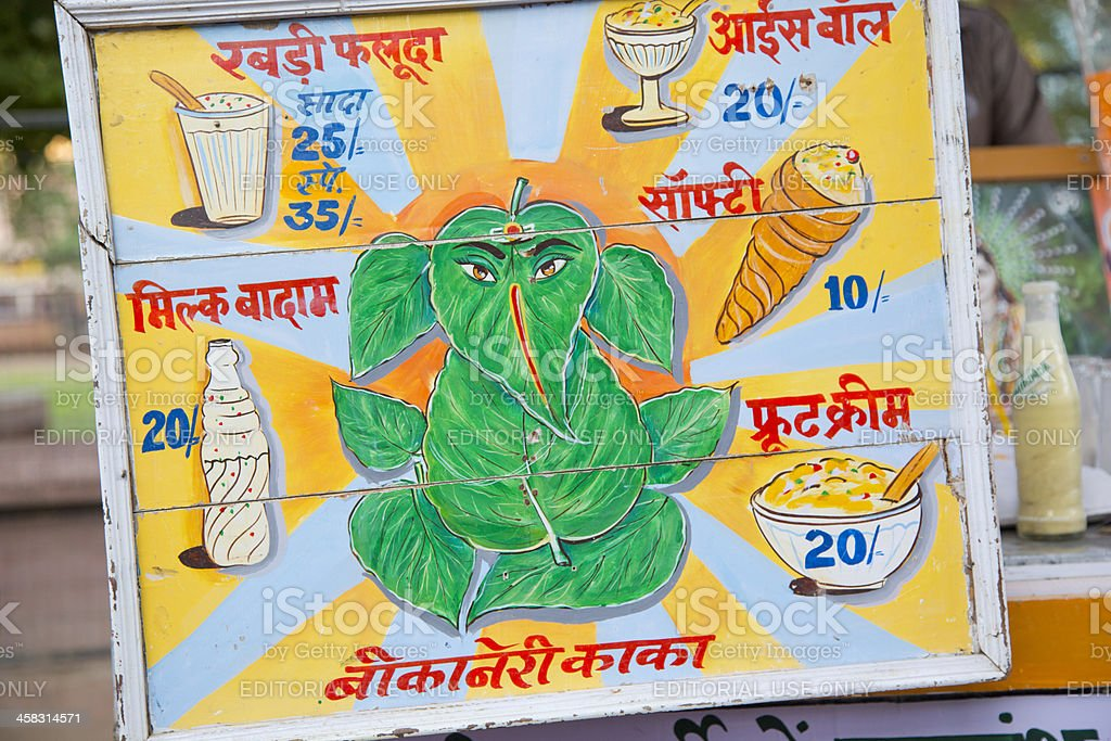 Indian street vendor sign for food stock photo