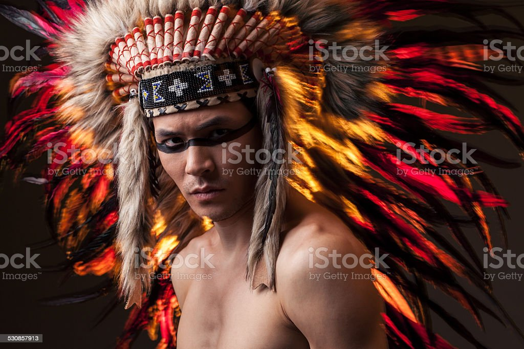 Indian Strong Man With Traditional Native American Make Up Royalty Free Stock Photo