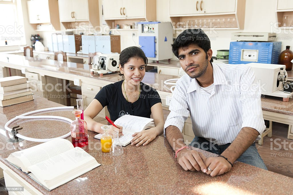 Indian Students in Science Laboratory stock photo