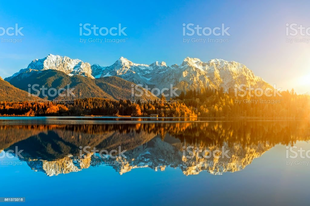 Indian Summer at Barmsee, Karwendel Mountains, Bavarian Alps, XXL Panorama stock photo