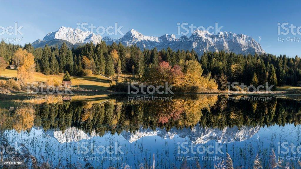 Indian Summer at Karwendel Mountains, Bavarian Alps, XXL Panorama stock photo