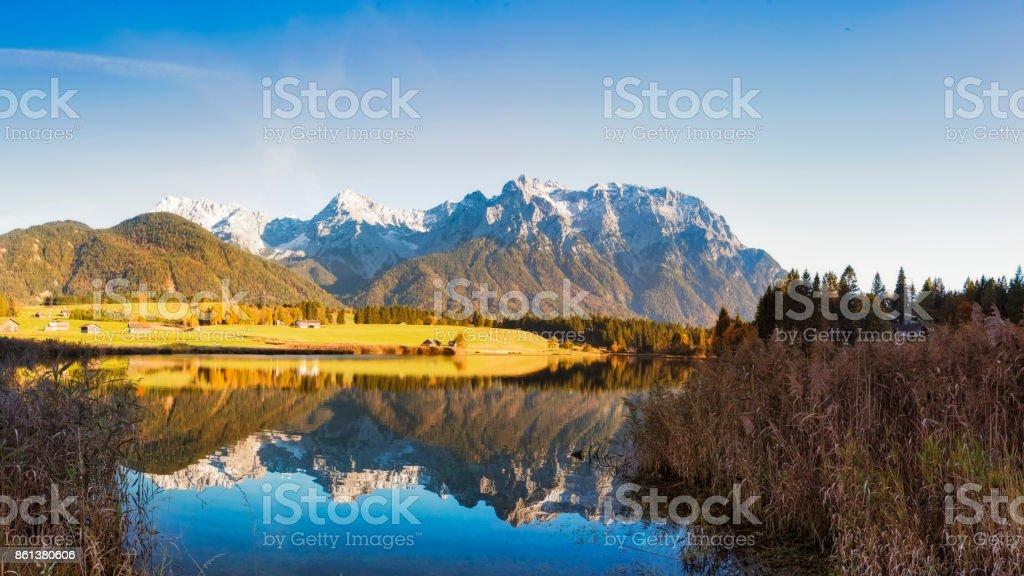 Indian Summer at Schmalensee, Karwendel Mountains, Bavarian Alps, XXL Panorama stock photo