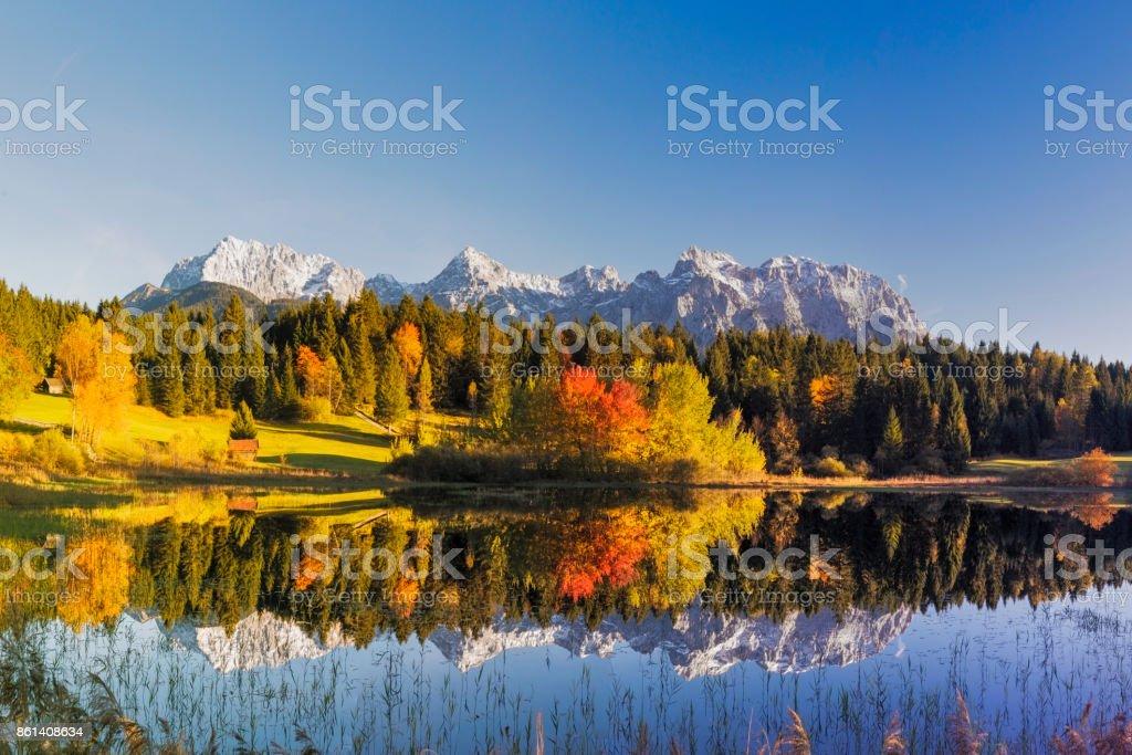 Indian Summer at Tennsee, Karwendel Mountains, Bavarian Alps, XXL Panorama stock photo