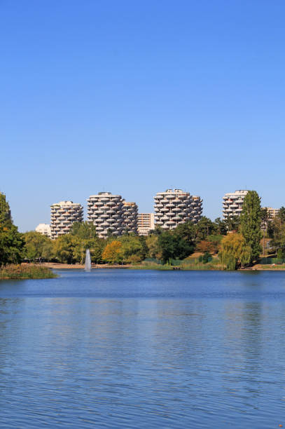 Indian summer on Créteil lake, France. stock photo