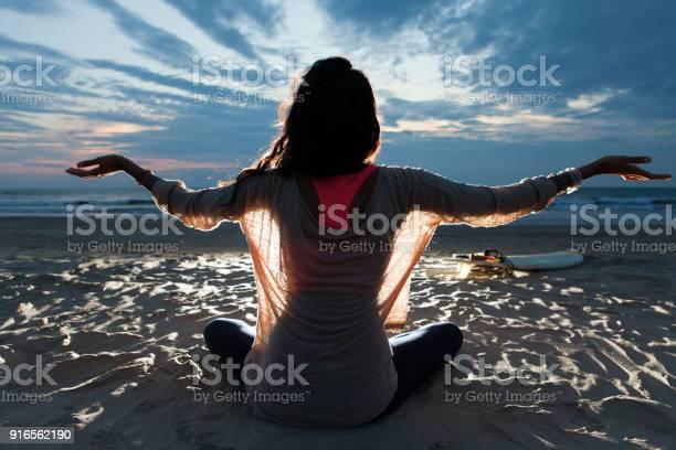Indian surfer girl meditating in lotus pose picture id916562190?b=1&k=6&m=916562190&s=612x612&h=hi37a1dgyud38d4cpqjvebmvh3 inztfhvpn7cq8g5a=