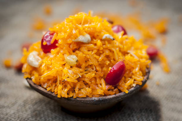 indian sweet rice dish in a clay bowl on gunny background. - wreck of the ss yongala stock pictures, royalty-free photos & images