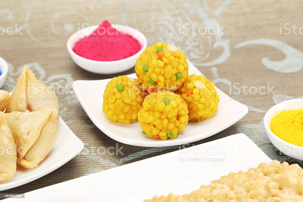 Indian sweets Motichoor Laddu or Laddoo stock photo