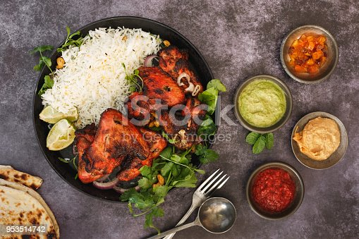 istock Indian Tandoori Chicken Wings And Sauces 953514742