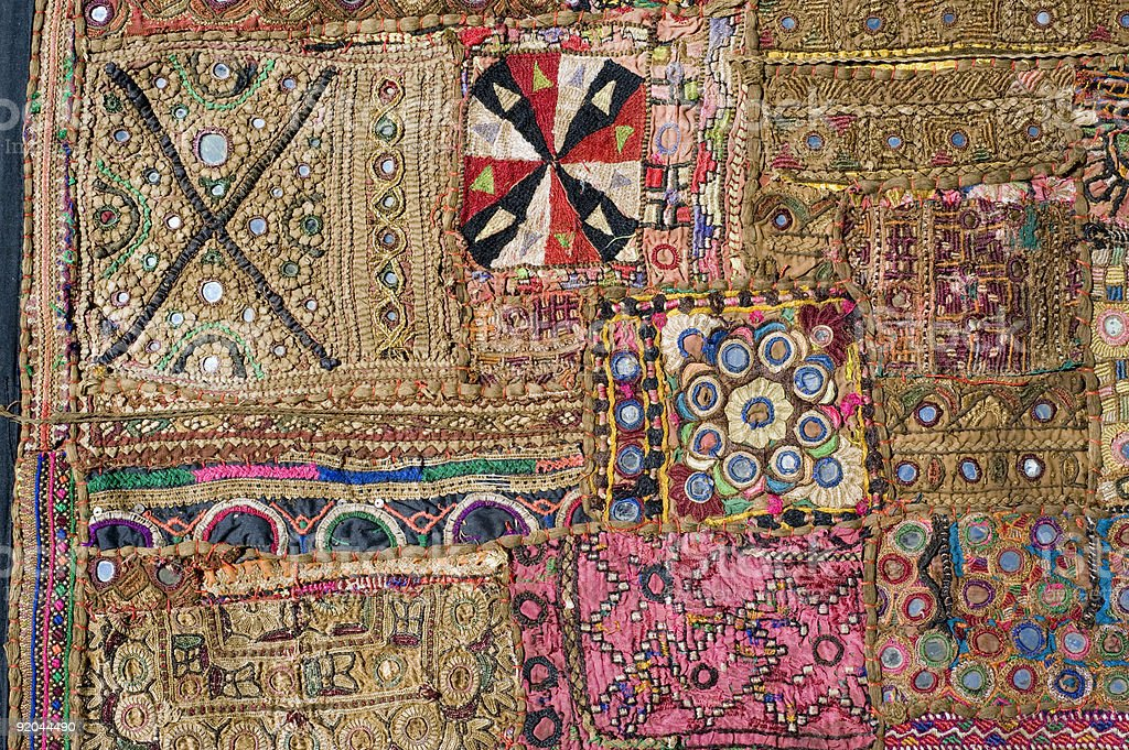 Indian Tapestry, patchwork - detail royalty-free stock photo
