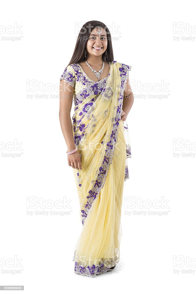 Indian teenage grl wearing beautiful sari gown stock photo