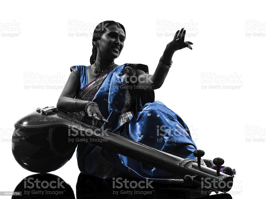 indian tempura musician woman   silhouette royalty-free stock photo