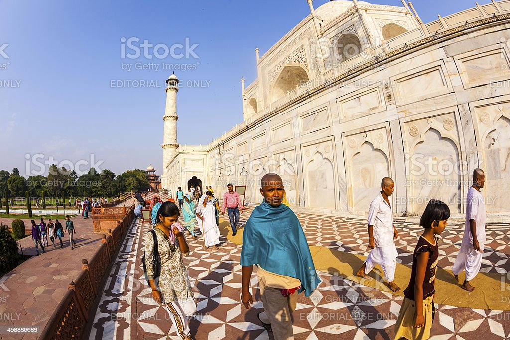 Indian tourists visit Taj Mahal in Agra, India royalty-free stock photo