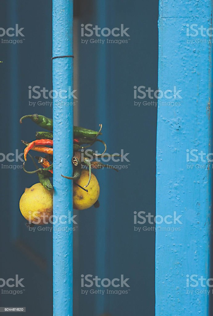 Indian tradition to keep bad sprit away stock photo