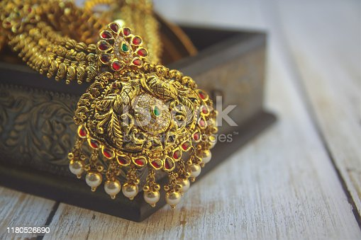 Indian Traditional Antique Gold Necklace with Peacock Design