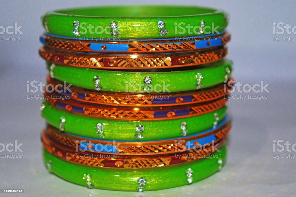Indian traditional colorful bangles stock photo