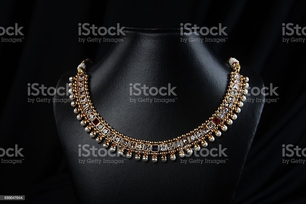 Indian Traditional Gold Necklace With Pearls Stock Photo