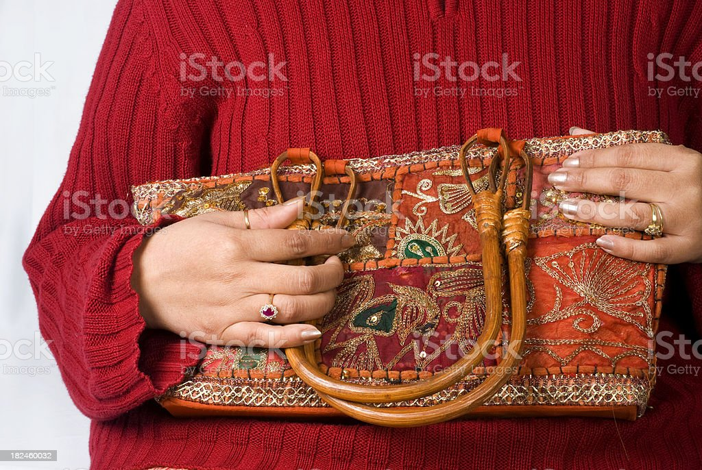 Indian traditional Handmade bag with young women royalty-free stock photo
