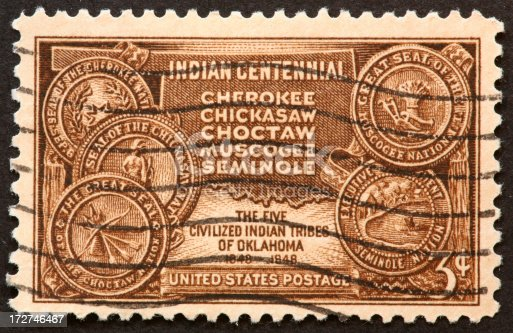 postage stamp honoring the five Indian Tribes of Oklahoma.