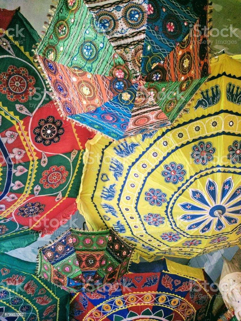 Indian umbrellas stock photo