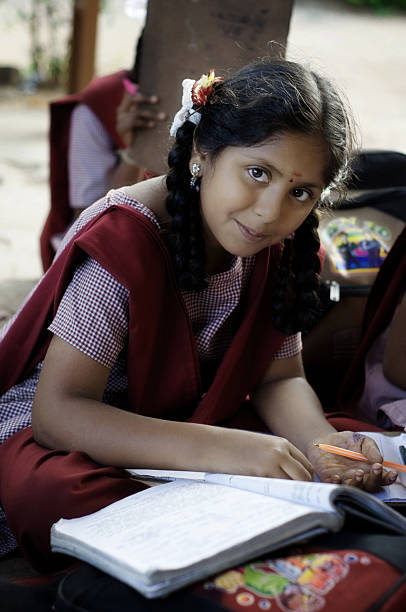 indian village school girl - village stock photos and pictures