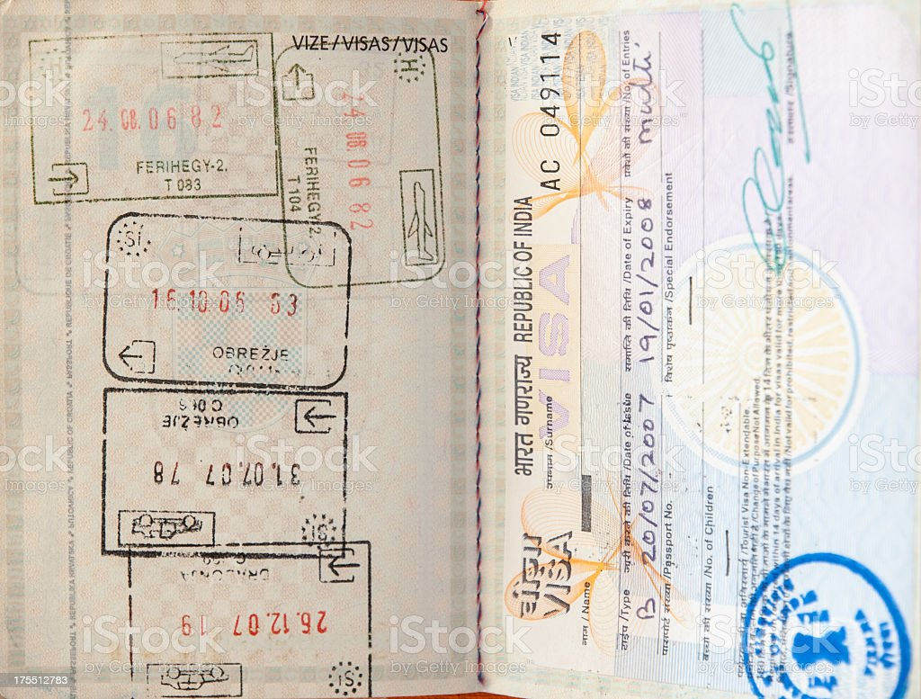 Indian Visa and  stamps in a Croatian passport royalty-free stock photo