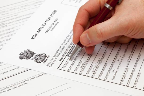Indian visa application form stock photo