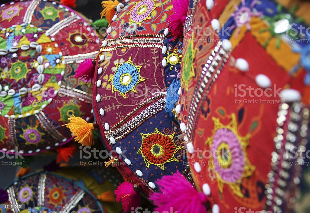 Indian Volorful Ornated Cushions stock photo