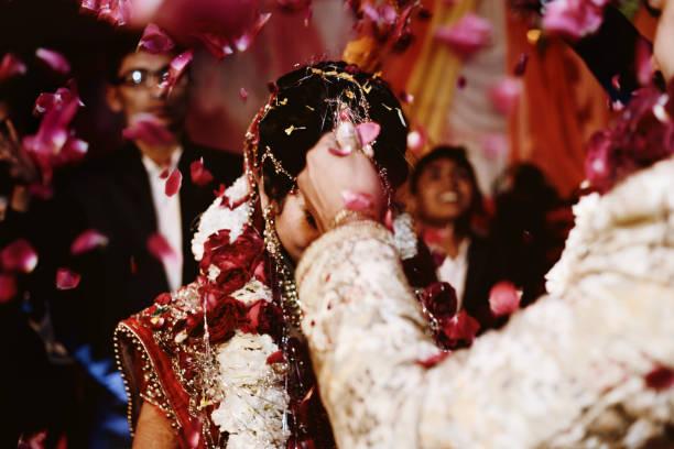 Indian wedding ceremony, Garland or Jai mala ceremony stock photo