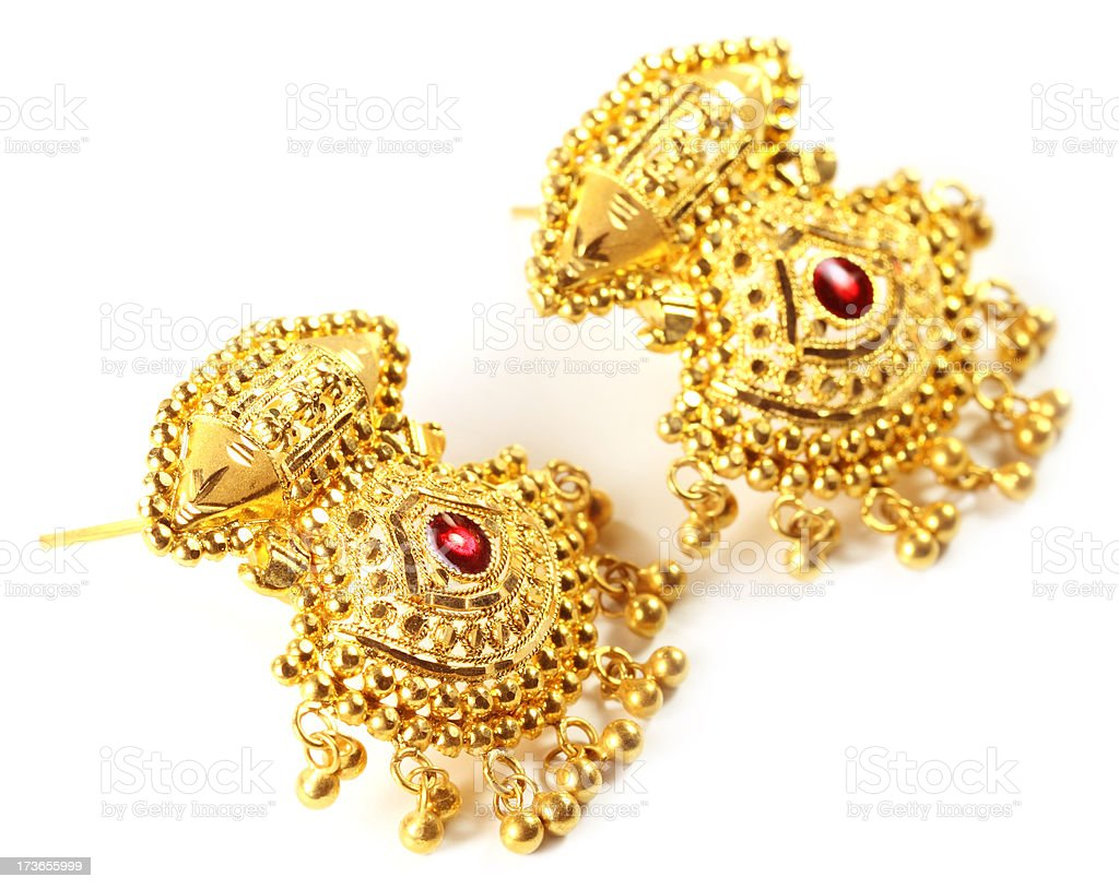 Indian wedding earrings for bride royalty-free stock photo