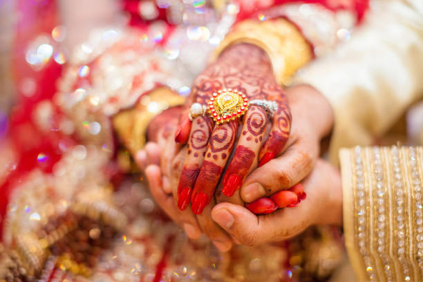 indian wedding hands - hinduism stock photos and pictures