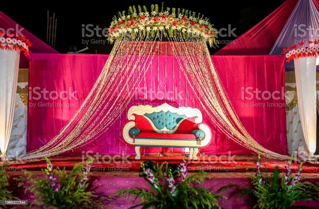 Indian Wedding Stage Decorations With Colorful Flowers Stock Photo ...