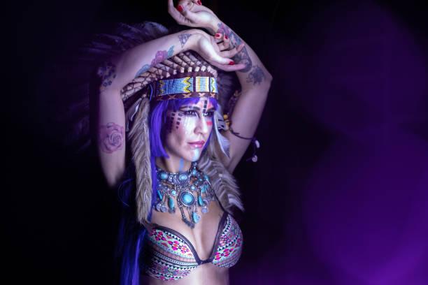 Indian Woman Among Colored Lightslight Dark Night