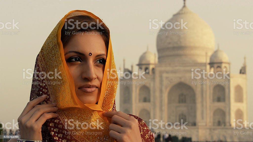 Indian woman at Taj Mahal stock photo