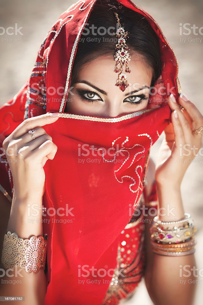 Indian woman bellydancer in traditional sari. Oriental Bride. Beauty stock photo
