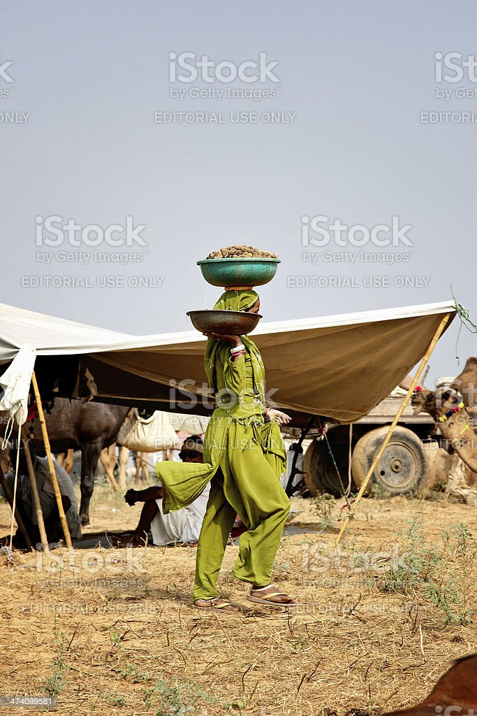 Indian woman carrying large pan of vegetables on her head royalty-free stock photo