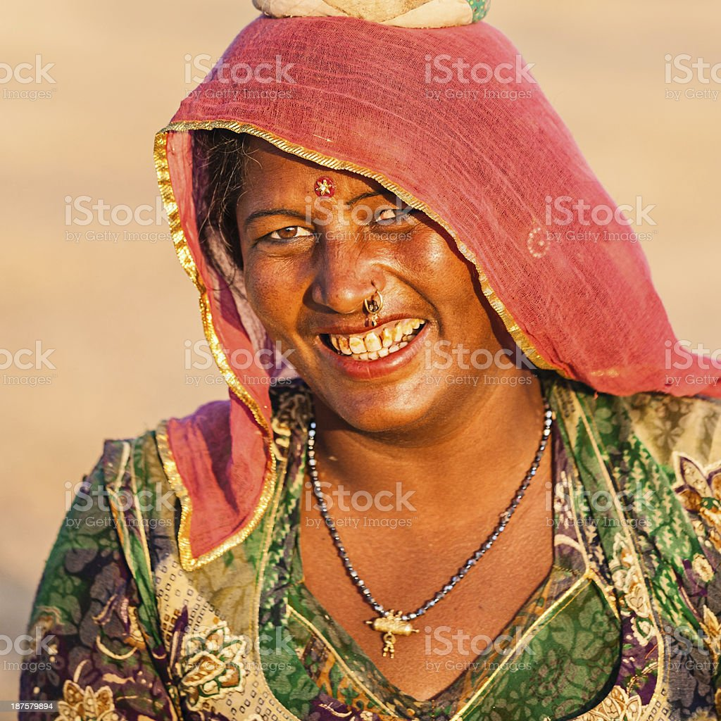 Indian woman carrying water, Rajasthan royalty-free stock photo