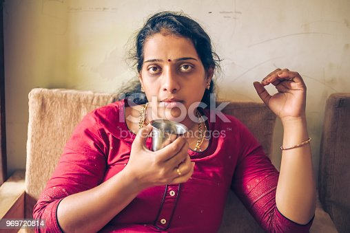 woman, drinking, coffee, morning, Bangalore,home