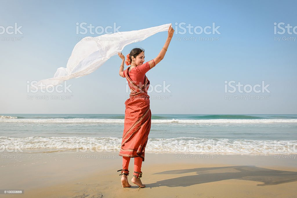 Indian woman feel freedom and enjoying the nature stock photo
