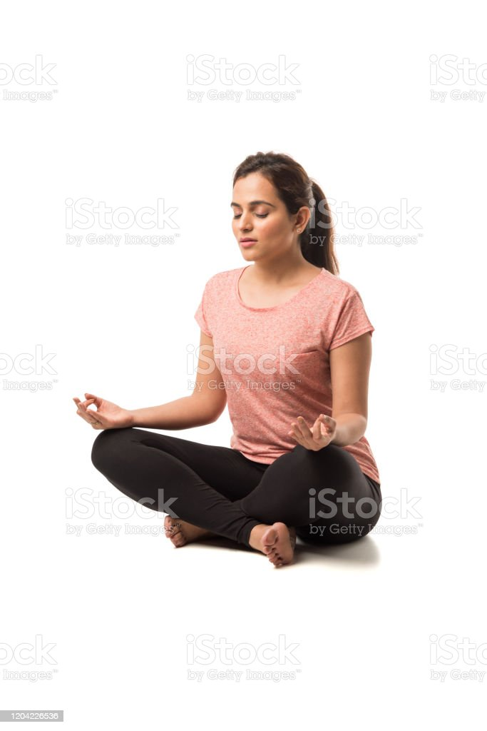 Indian Woman Girl Performing Yoga Asana Or Meditation Or Dhyan Sitting Isolated Over White Background Stock Photo Download Image Now Istock