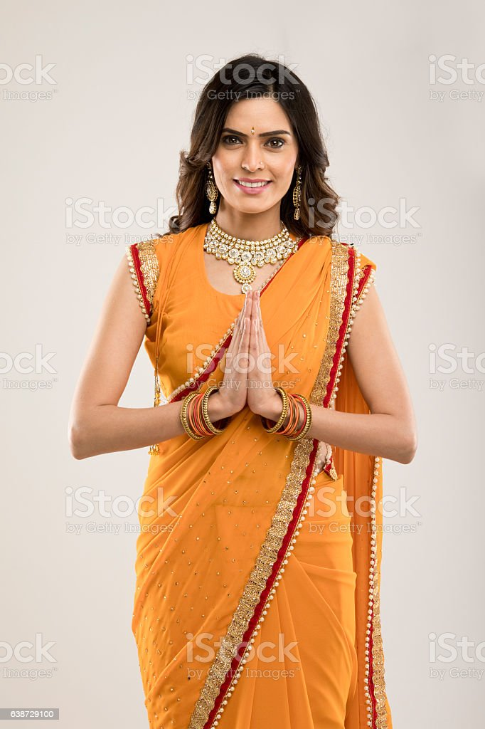 Indian woman greeting stock photo