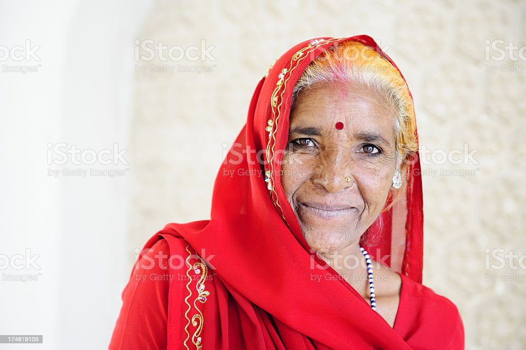 Indian Woman in Red Sari royalty-free stock photo
