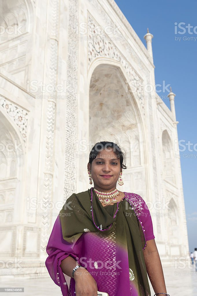 Indian woman in sari at the Taj Mahal stock photo