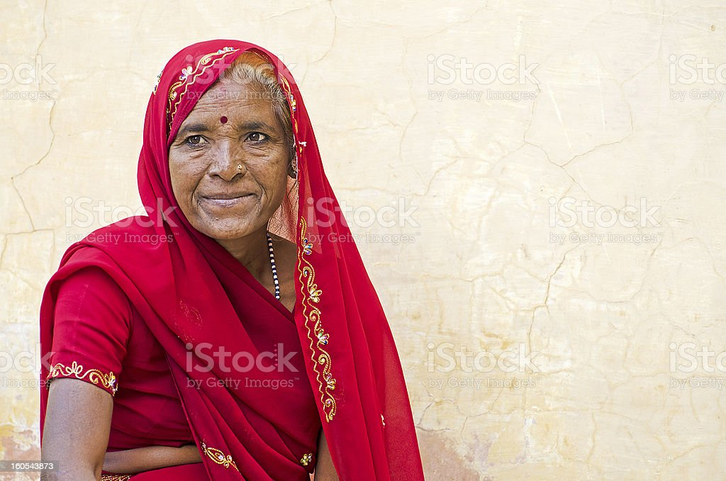 Indian woman in sari stock photo