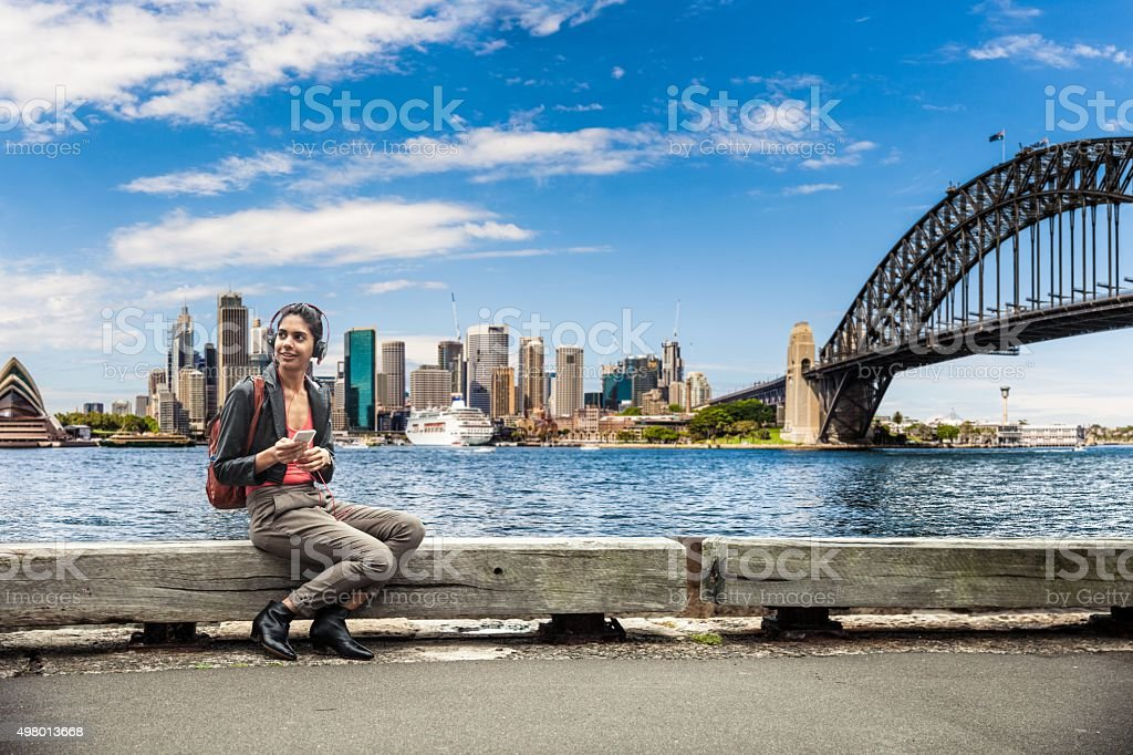 Indian woman in the city of Sydney downtown stock photo