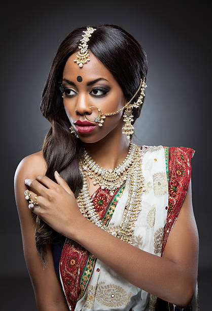 Indian Woman In Traditional Clothing With Bridal Makeup And